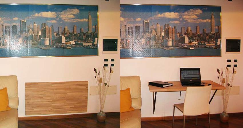 Il tavolo pieghevole a muro in versione naturale - Tavolo a muro pieghevole ...