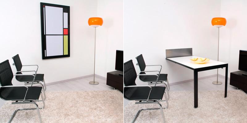 I tavoli pieghevoli a muro di ntc new table concept - Tavoli ribaltabili a parete ...