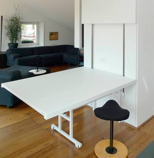 Tavolo A Ribalta A Parete.Fold Down Table Wall Mounted That Disappears Once Closed